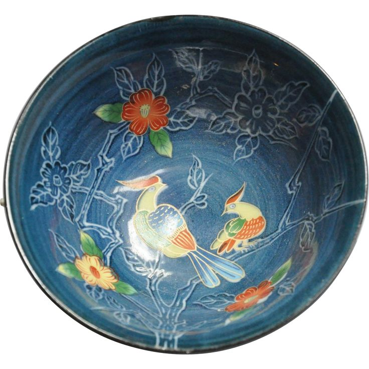 Japanese Arita Juzan- gama Porcelain Bowl in Blue and White Floral and Birds