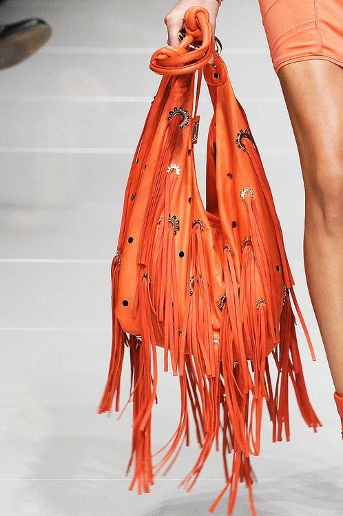 embellished orange fringed bag Blumarine