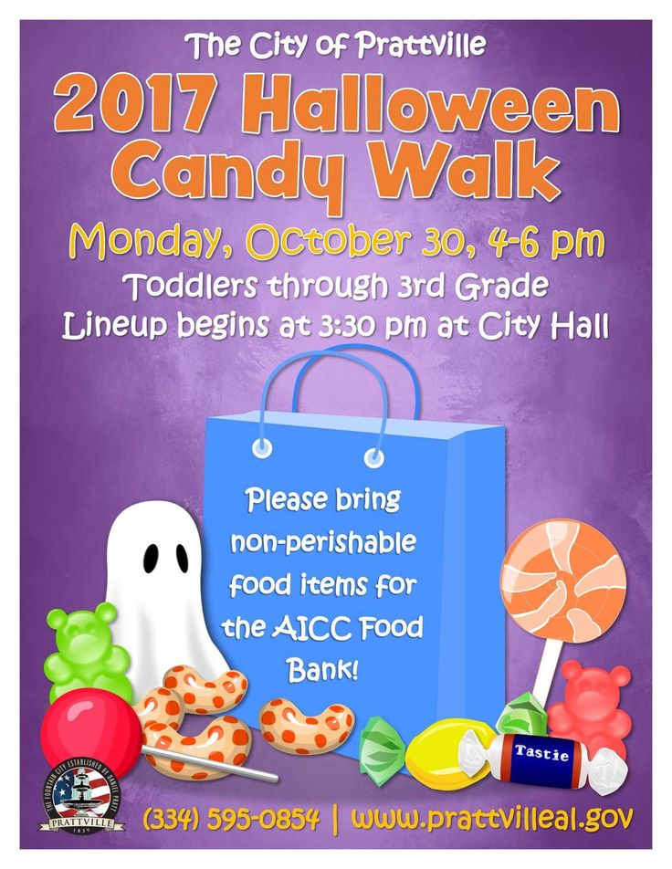 Join The City of Prattville for the 2017 Halloween Candy Walk on October 30 at 3:30 PM!  Toddlers through 3rd Graders welcome!  Please bring Non-perishable food items for the AICC Food Bank.  It's a great way to do good, while having a good time!