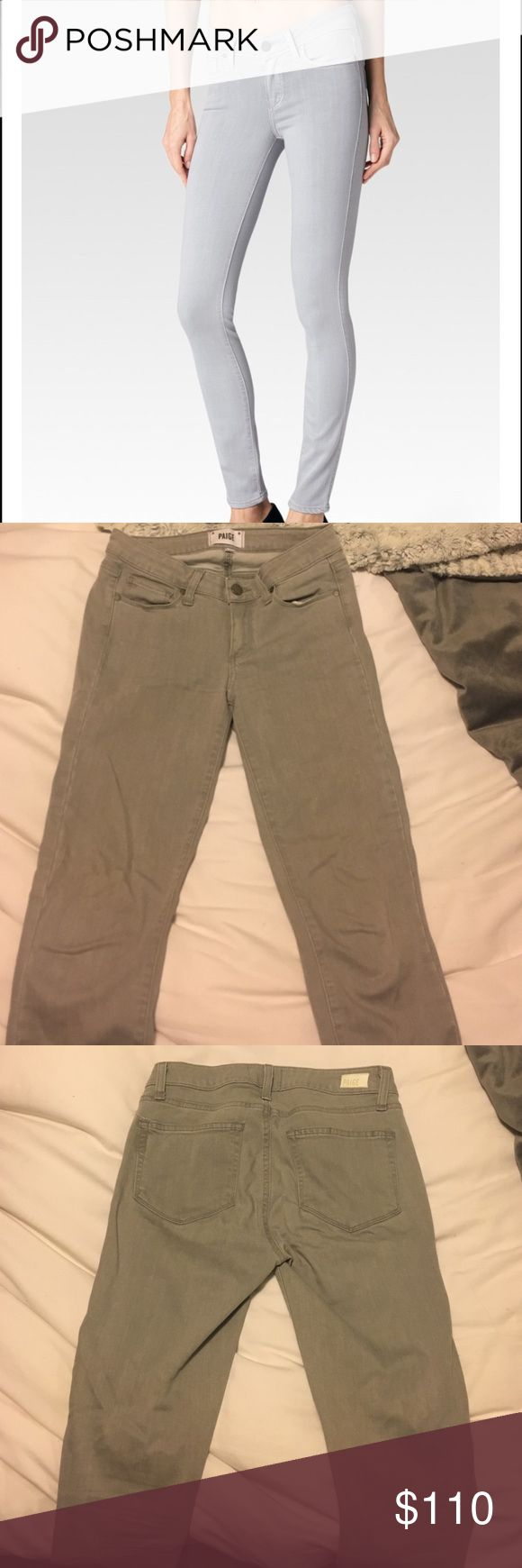 Paige Verdugo Crop Skinny Jeans in French Grey New and only worn once! Super soft Paige Verdugo Crop Skinny Jeans. Jeans end about mid calf (shorter than what is pictured). Fits a 27 perfectly! Paige Jeans Jeans Ankle & Cropped