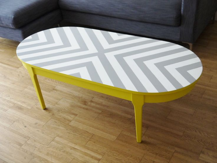 Bespoke Hand Painted Upcycled Geometric Chevron Oval Wood Coffee Table. £130.00, via Etsy.