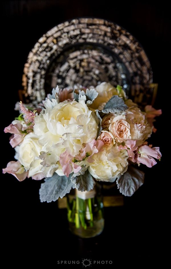 A pink, green, and white floral bouquet from Avant Gardenia