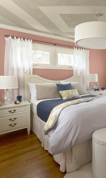 #  bedroom #. Great idea for basement or bedroom with small Windows. Plus i like the idea of using the yellow gold comforter inside out where u see just a subtle amount of pattern in the comforter & pillow. That might be handy if u get a stain on the outside of the comforter! I luv the yellow gold color that's popular combined with blue, purple, or gray!
