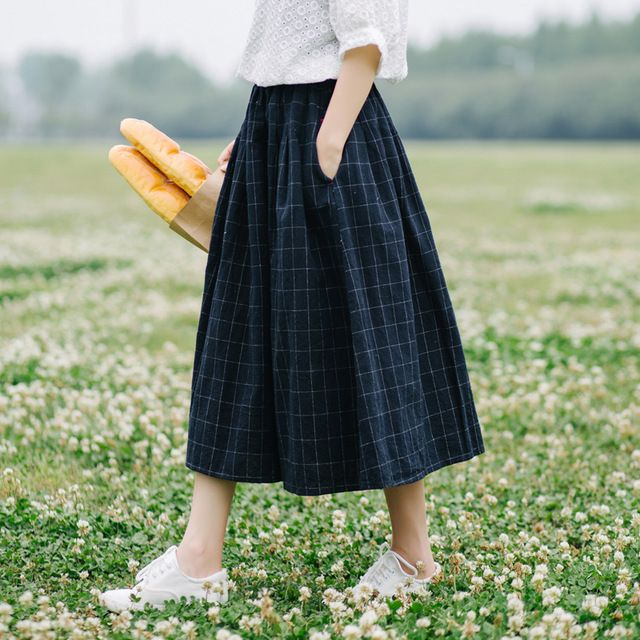 Retro plaid pocket Elastic waist pocket loose  A-Line skirt mori girl 2018 spring
