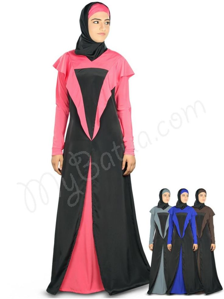 Beautiful Black and Sweet Pink Party Wear Abaya | MyBatua.com  Juhainah Abaya !  Style No : Ay-332  Shopping Link  : http://www.mybatua.com/juhainah-abaya  Available Sizes XS to 7XL (size chart: http://www.mybatua.com/size-chart/#ABAYA/JILBAB)  Dual color Abaya with 'V' neckline Frills attached at shoulder Straight sleeves Utility pockets on both sides Matching Square Hijab (100x100 cm approx.) and Band can be bought separately. Colour: In 4 different color options Fabric: Poly crepe