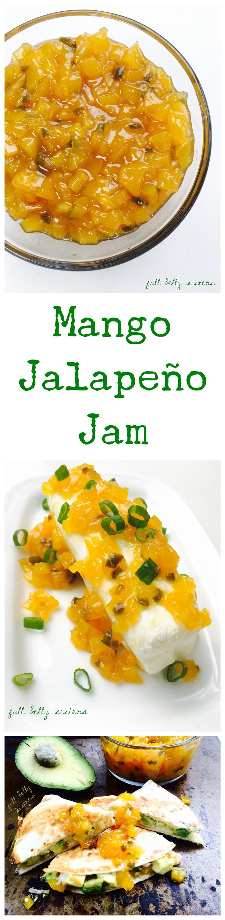 This sweet and spicy Mango Jalapeno Jam is simple to make and super versatile: pour it over cream cheese as a dip for crackers; make a cheddar, avocado, mango jalapeno quesadilla; or spoon it over roasted pork or chicken. It's delicious any way you use it! *adapted from @theflavorbender