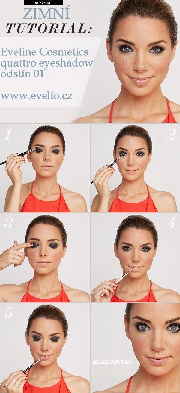 Zimní líčení. Byly použity stíny Eveline Cosmetics Quattro eyeshadow odstín 01. Líčení působí velice svěže a elegantně.