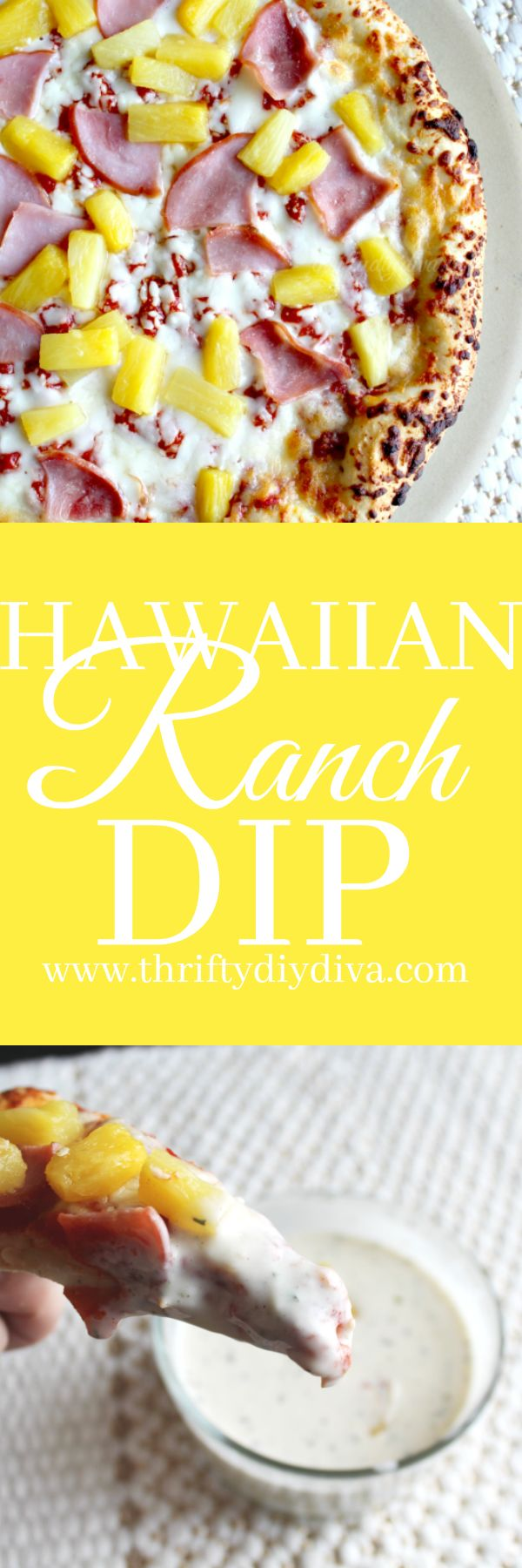AD Homemade Pineapple Ranch Dressing (Hawaiian Dip) #FreschettaFresh @walmart  - Pizza + dipping sauce? Yes, please! It's not just for breadsticks, folks. Whip up my delicious Pineapple Ranch Dressing Dip recipe, which pairs perfectly with Canadian bacon and pineapple pizza.