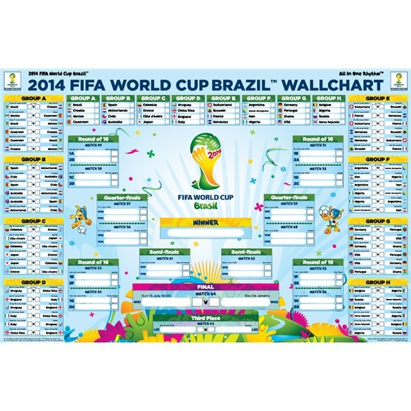 2014 FIFA World Cup Bracket Wallchart Poster - The Official FIFA Online Store