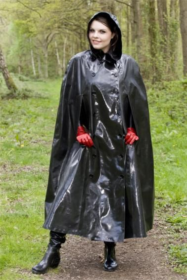 Black Rubber Hooded Cape