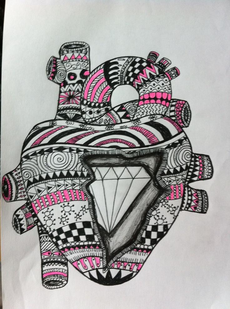 Diamond heart - drawing by Helena W Pedersen (EnaEna)