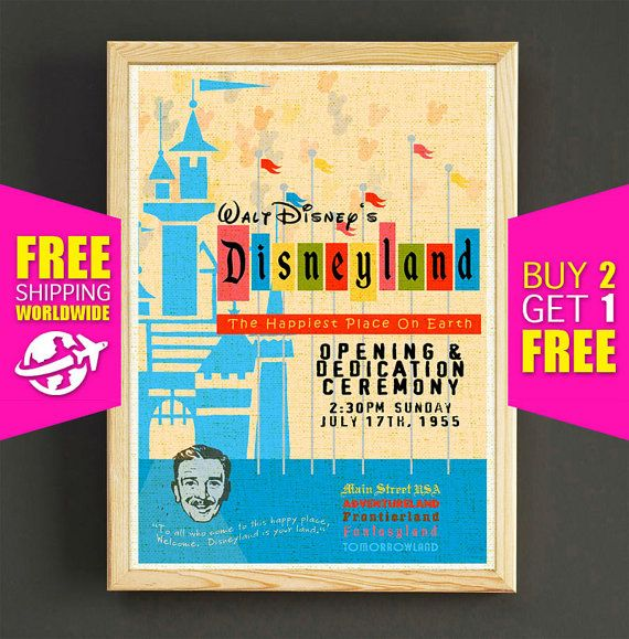 Disney Poster Disneyland Vintage Happiest Place by Star2Go on Etsy