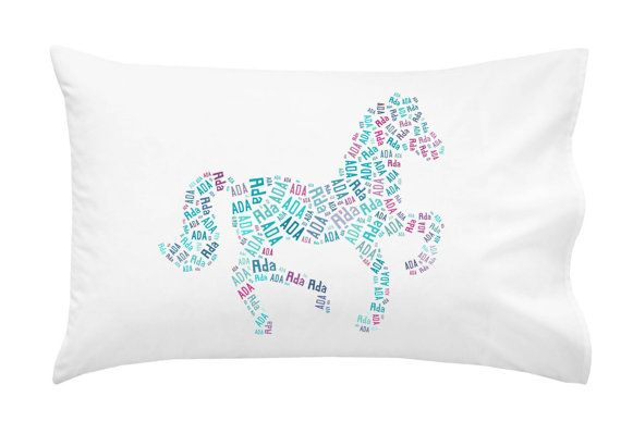Handmade Girl's Tween Personalized Cotton Pillowcase Horse Pony Pinks Turquoise Pillow Room Decor Christmas Gift on Etsy, $29.00