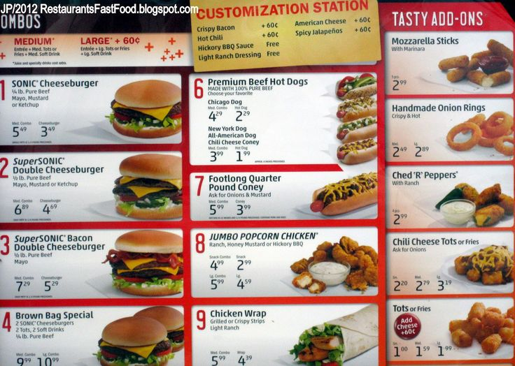 Fast Food Restaurant Menu | ... , Sonic Hamburgers Fast Food Restaurant Menu Drive In Phenix City AL