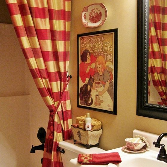 My French Country Guest Bath With A Surprising Shower Curtain Curtains Country Style And