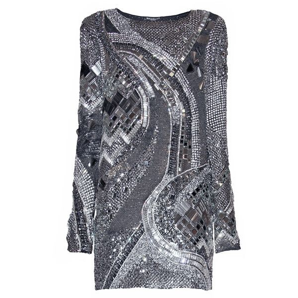 BALMAIN Silver Dress with Mirrors found on Polyvore