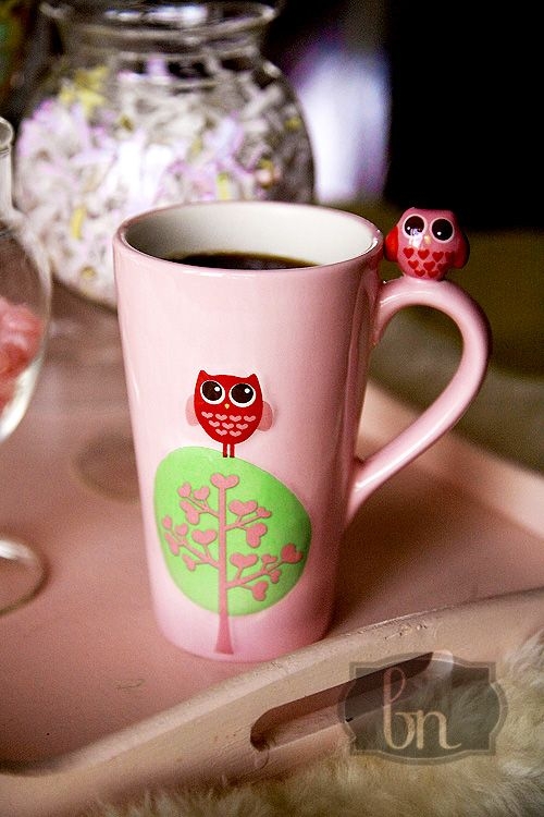 Pink Owl Coffee Cup