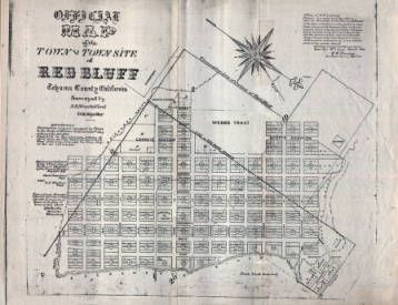Official Map Of The Town And Townsite Of Red Bluff Tehama County