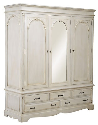 white wood wardrobe armoire shabby chic bedroom. VICTORIAN PAINTED PINE IVORY LARGE TRIPLE WARDROBE ARMOIRE FRENCH COUNTRY White Wood Wardrobe Armoire Shabby Chic Bedroom U