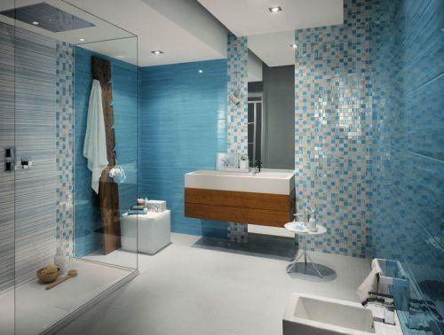 Modern Blue Bathroom Ideas with Small Tiles and White Fixtures #ModernBathroom #ModernInterior #MinimalistInterior #MinimalistBathroom