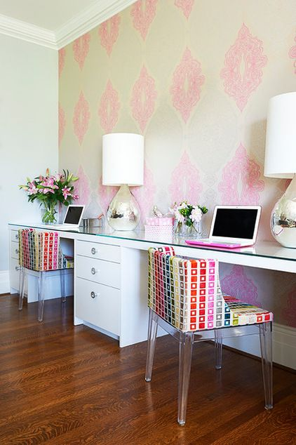 Transitional Home Office by Emily Griffin Design