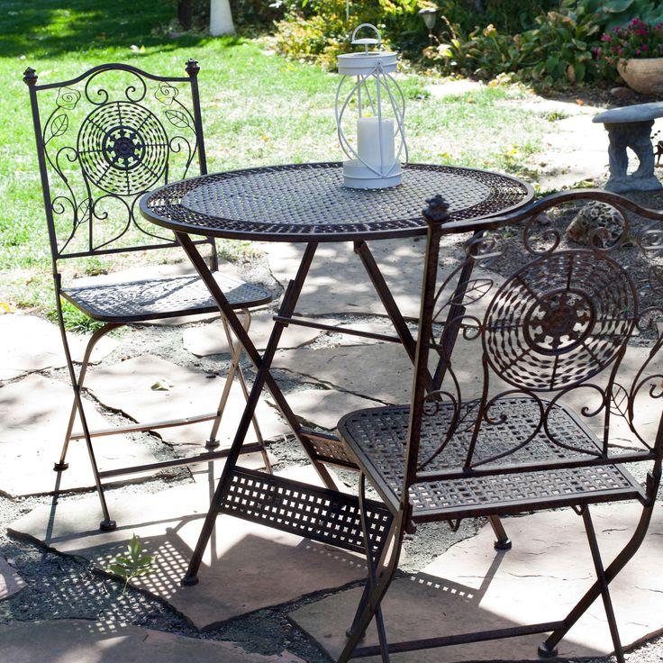 Have to have it. Coral Coast Laurel Antiqued Iron Folding Bistro Set - $219.99 @hayneedle