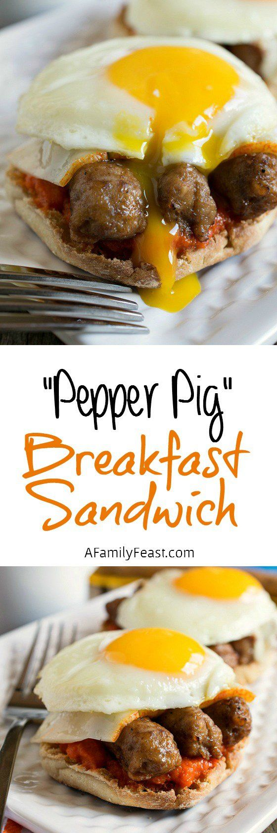 Our delicious Pepper Pig Breakfast Sandwich has sausage links on an English muffin smothered in a red pepper sauce with cheese. #ad @jvillesausage #SausageSunday