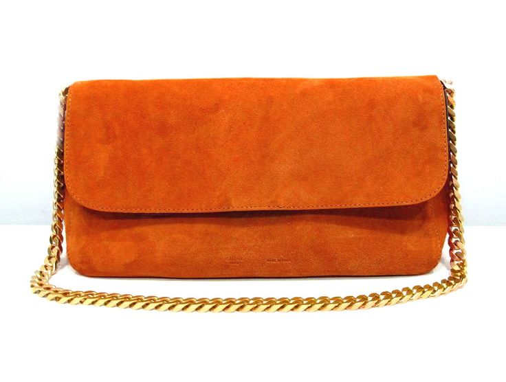 #3078 Celine 2012 Gourmette Gold Chain Bag-Orange