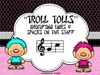 Are you needing a fun, new way to introduce or review how to number the lines and spaces on the musical staff?  These adorable trolls will help your young elementary music students recall the order in which to count the lines and spaces of the staff.  If students select the correct answer, the cute, colorful trolls gets to cross over the bridge.