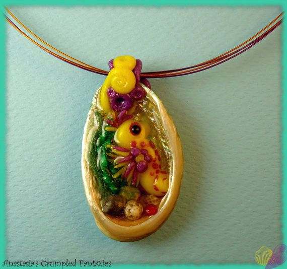 Seashell seahorse necklace by CrumpledFantazies