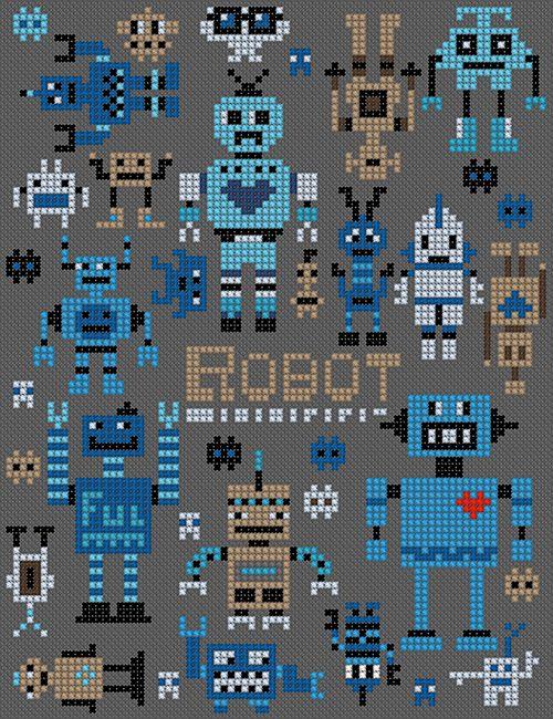 Robota en märkduk med ett stort gäng små robotar som du kan förgylla ditt liv…