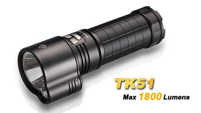 The Fenix TK51 Flashlight employs dual LEDs to increase total output with 16 wide-ranging lighting options. Spot and flood beams include 1800 lumen max output and 425m carry distance. For total control, one-button instant turbo and strobe activate even when the TK51 is off. #hidcanada