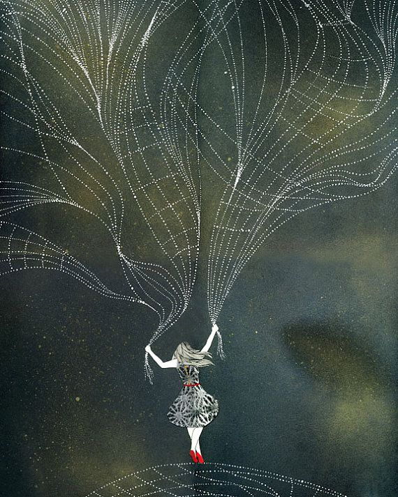 IThe Stars Under My ControlInspiration, Illustration, Art, Prints, Dan Ahs Kim, Drawing, Danahkim, Spiders Web, Danah Kim