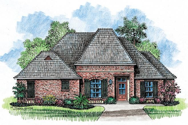 House Plan 4534 00006 French Country Plan 2 013 Square Feet 4 Bedrooms 2 Bathrooms French Country House Plans Country Style House Plans French House Plans