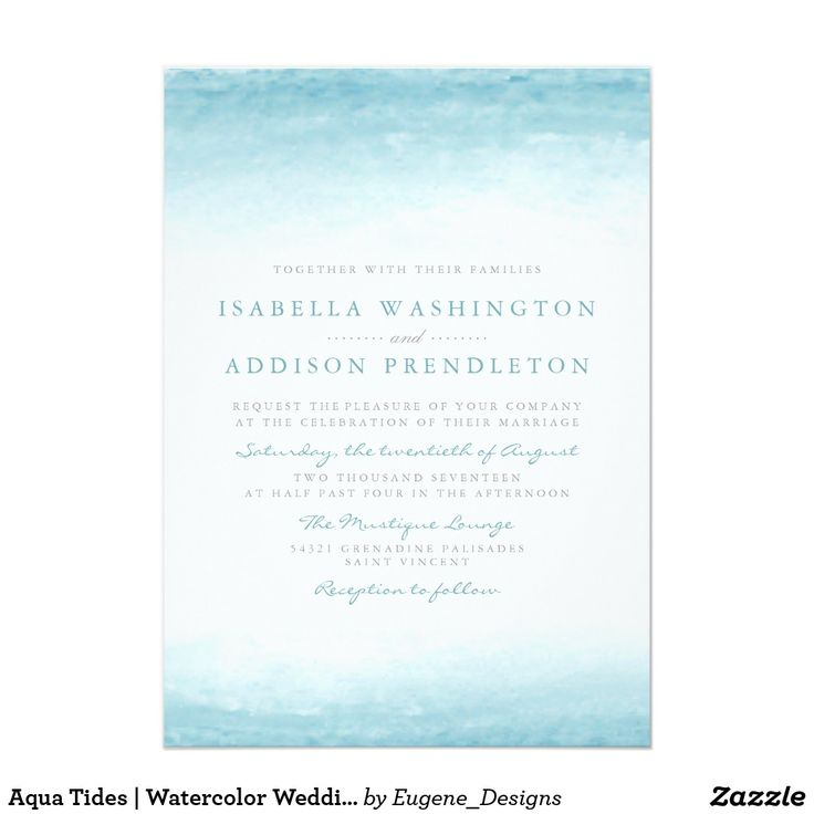 Aqua Tides | Watercolor Wedding Card Aqua Tides | Watercolor Wedding by Eugene Designs. The perfect choice for a destination, beach or water themed contemporary Wedding celebration, our Aqua Tides Watercolor Wedding invitations have an elegant modern simplicity. The delicate, pastel blue curves frame classic, double-spaced block lettering and cursive calligraphic font.