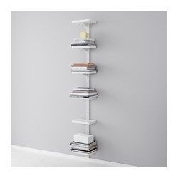 IKEA - ALGOT, Wall upright/shelves, The parts in the ALGOT series can be combined in many different ways and easily adapted to your needs and space.Can also be used in bathrooms and other damp indoor areas.You click the brackets into the ALGOT wall uprights wherever you want to have a shelf or accessory – no tools needed.