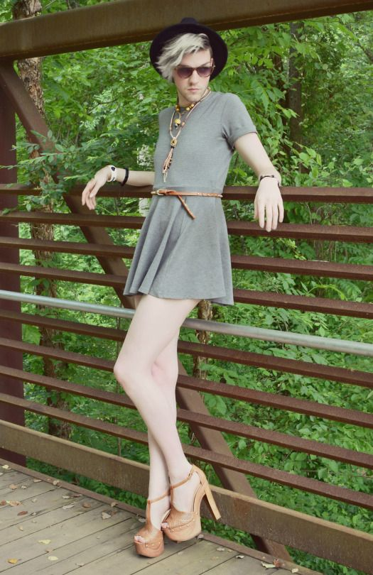 Non-binary fashion by Elliott Alexzander little grey dress but with different color shoes and belt