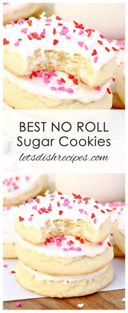 The Best No-Roll Sugar Cookies Recipe: Soft, bakery style sugar cookies with no rolling required. Perfect for holiday decorating. #cookies