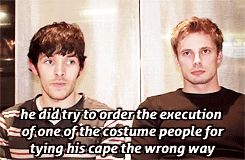 Bradley's face!! Colin Morgan and Bradley James from Merlin.