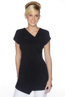 SPA 14 tunic - Black. Abstract hem line and neck line. Zips at rear with cap sleeves. Very cool and comfortable to wear. Easy wash and wear corporate grade fabric with stretch. This tunic is long enough to cover your back side. Sizes available; 4-26 this tunic is true to size. View our sizing chart to determine your size. Colours available; black, white, electric blue, hot pink, charcoal grey.