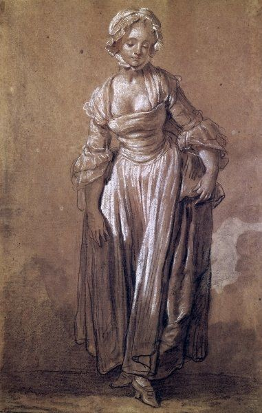 Standing Young Girl, study for 'The Village Agreement' (charcoal & white chalk on paper) by Jean Baptiste Greuze