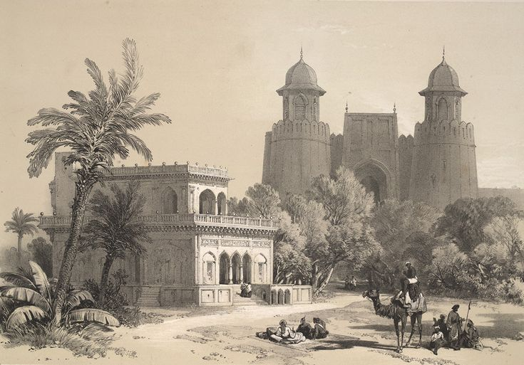 The Hazuri Bagh gateway seen from inside the courtyard adjoining the Lahore Fort. The small marble pavilion in the garden is known as the Baradari of Ranjit Singh. (From Recollections of India and the Punjab by James Duffield Harding 1797-1863)