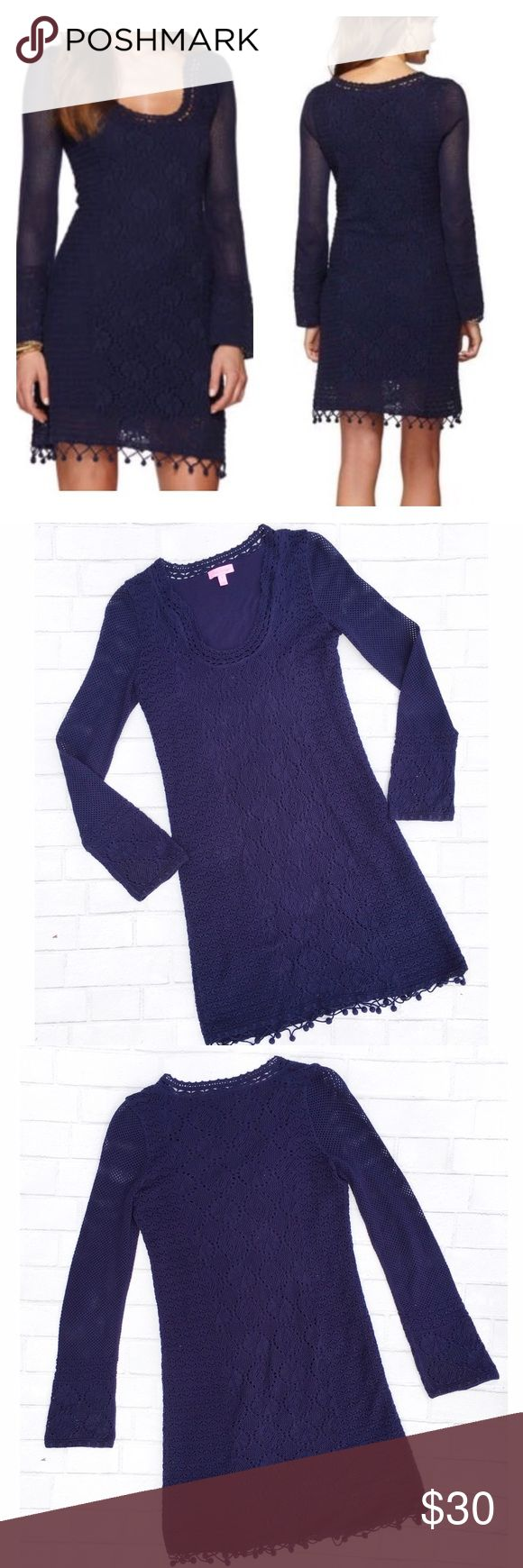 "Lilly Pulitzer Athena Crochet Sweater Dress Pre-owned Lilly Pulitzer in great condition with no flaws! Perfect style for a night out! It features mixed stitches, hand crochet at hem, & fully lined!   -Underarm to underarm: 16.5""  Length: 35.5"" Lilly Pulitzer Dresses Mini"