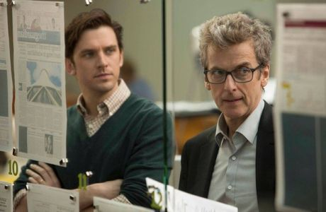 Dan Stevens and Peter Capaldi in 'The Fifth Estate' Starring Benedict Cumberbatch. Stanley Tucci is also present. Never thought I'd want to watch a biopic about Wikileaks...
