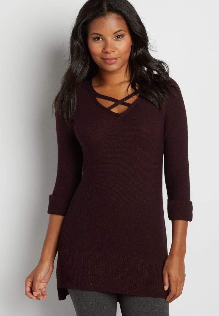 pullover tunic sweater with strappy neckline