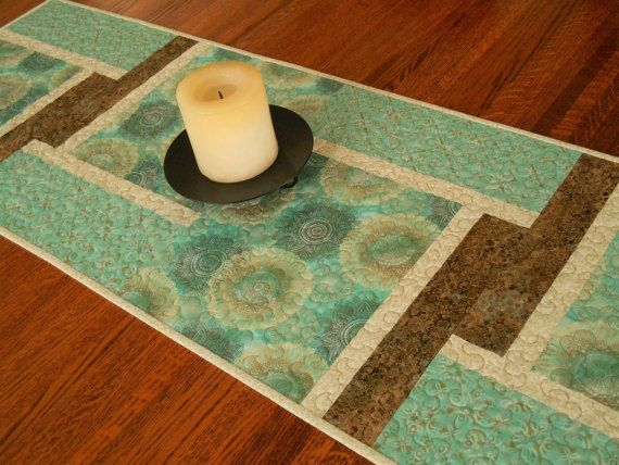 Hey, I found this really awesome Etsy listing at https://www.etsy.com/listing/500436960/modern-table-runner-in-aqua-brown-and