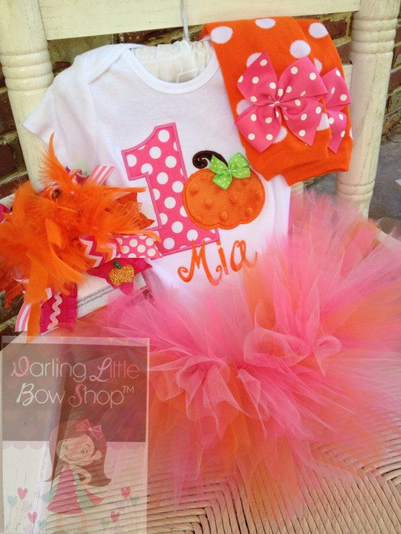 Baby Girl 1st Birthday Pumpkin Tutu Outfit by DarlingLittleBowShop.  Hot pink and orange pumpkin themed first birthday.  'This Little Pumpkin is 1!'