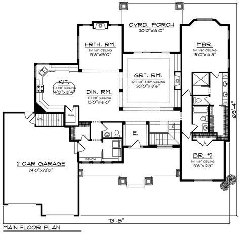Keeping it simple. Ranch Style House Plan - 2 Beds 2.50 Baths 2318 Sq/Ft Plan #70-1273 Floor Plan - Main Floor Plan - Houseplans.com