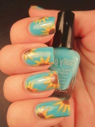 love: Nailart, Sunflowers, Nail Designs, Naildesign, Sun Flower, Nail Ideas, Sunflower Nails, Nail Art