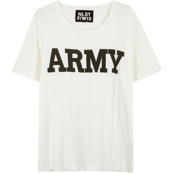 Womens Short-Sleeved Tops NLST Off White And Black Army-print T-shirt found on Polyvore featuring tops, t-shirts, shirts, blusas, short sleeve tops, print shirts, black and white shirt, lined shirt and short sleeve t shirts